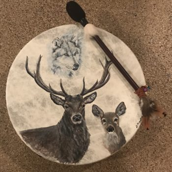 Wolf and stag drum