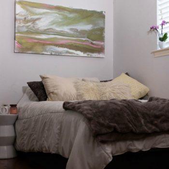 Teen bedroom with art
